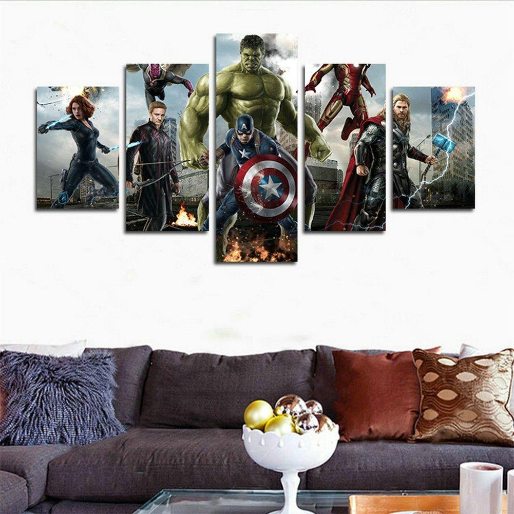 Yspgart66 Impression Sur Toile De Peinture 5 Pièces Marvel Avengers