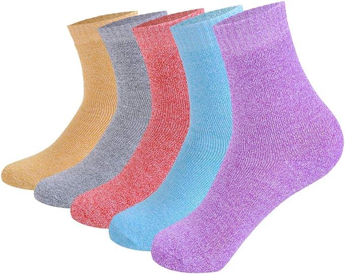 Litthing Calcetines Mujer Invierno Termica Color Sólido Calcetines Clásico de Algodón Cómodo Respirable 5 Pares (B): Amazon.es: Ropa y accesorios