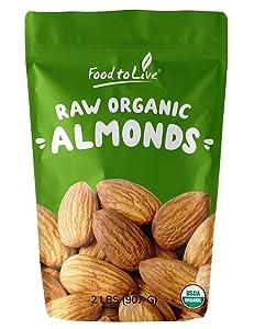 Raw Organic Almonds, 2 Pounds - Non-GMO, Kosher, No Shell, Whole, Unpasteurized, Unsalted, Bulk