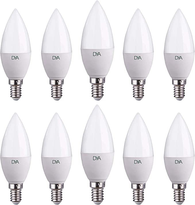 Set Di 10 Lampadine Led Dya Led Candela E14 Luce Calda 3000k 6w Amazon It Illuminazione