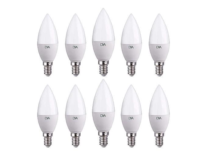 Juego de 10 Bombillas LED C37 vela LED, 6W 570 lúmenes, casquillo E14,