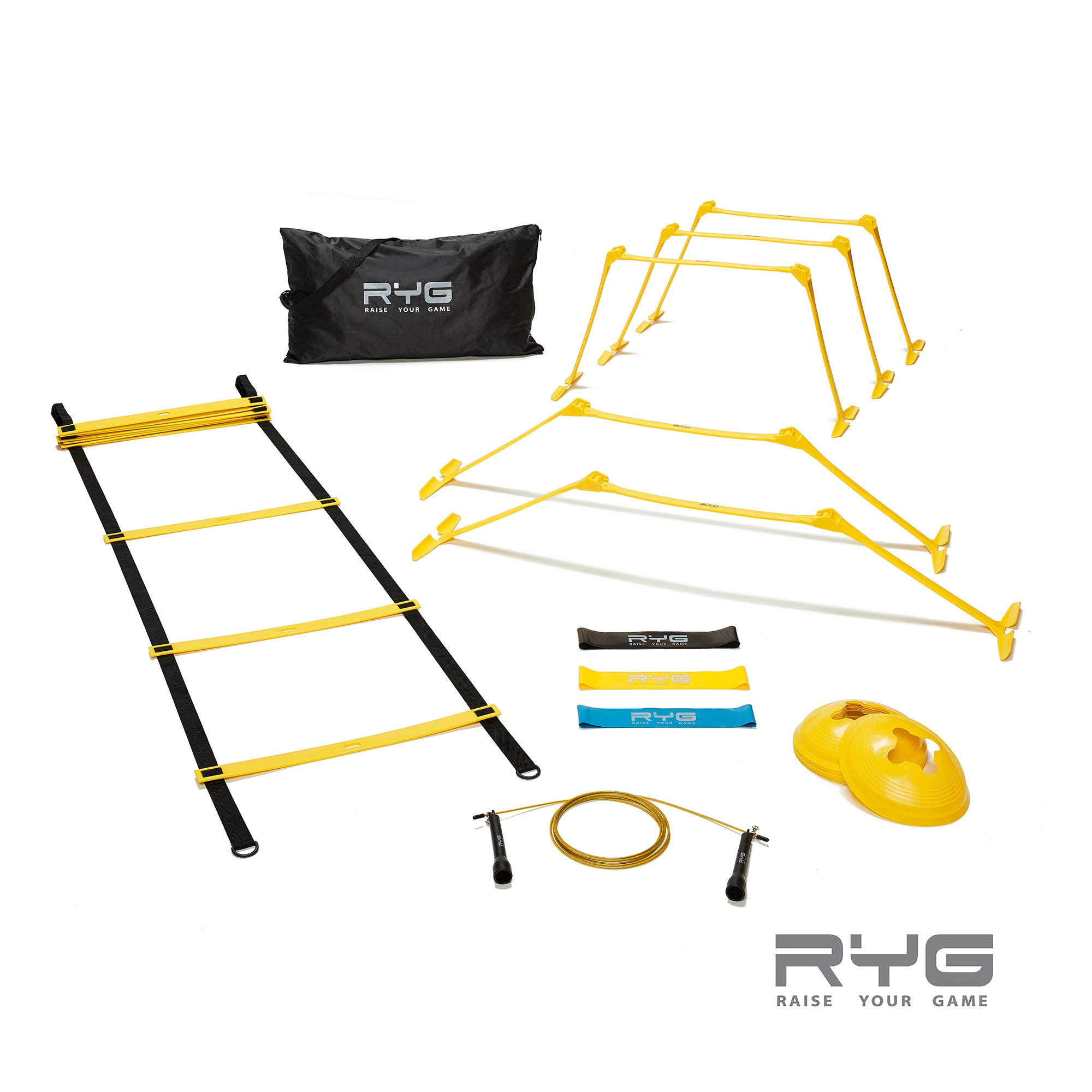 Raise Your Game Agility Ladder Speed Training Set- RYG 8 Cones, 5 Hurdles, Resistance Bands, Exercise for Soccer…