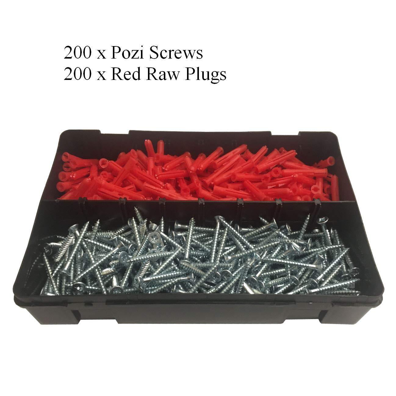 400 x Pozi Screws & Red Raw Fixing Plugs, Twin Thread 8 x 1½'' Countersunk