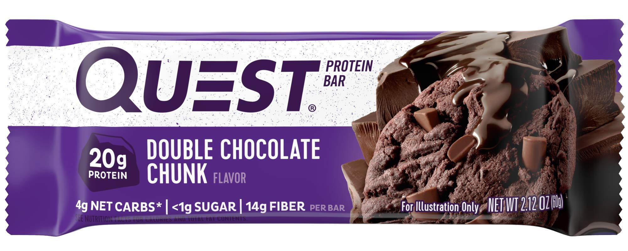 Quest Nutrition Double Chocolate Chunk Protein Bar, High Protein, Low Carb, Gluten Free, Soy Free, Keto Friendly, 12 Count