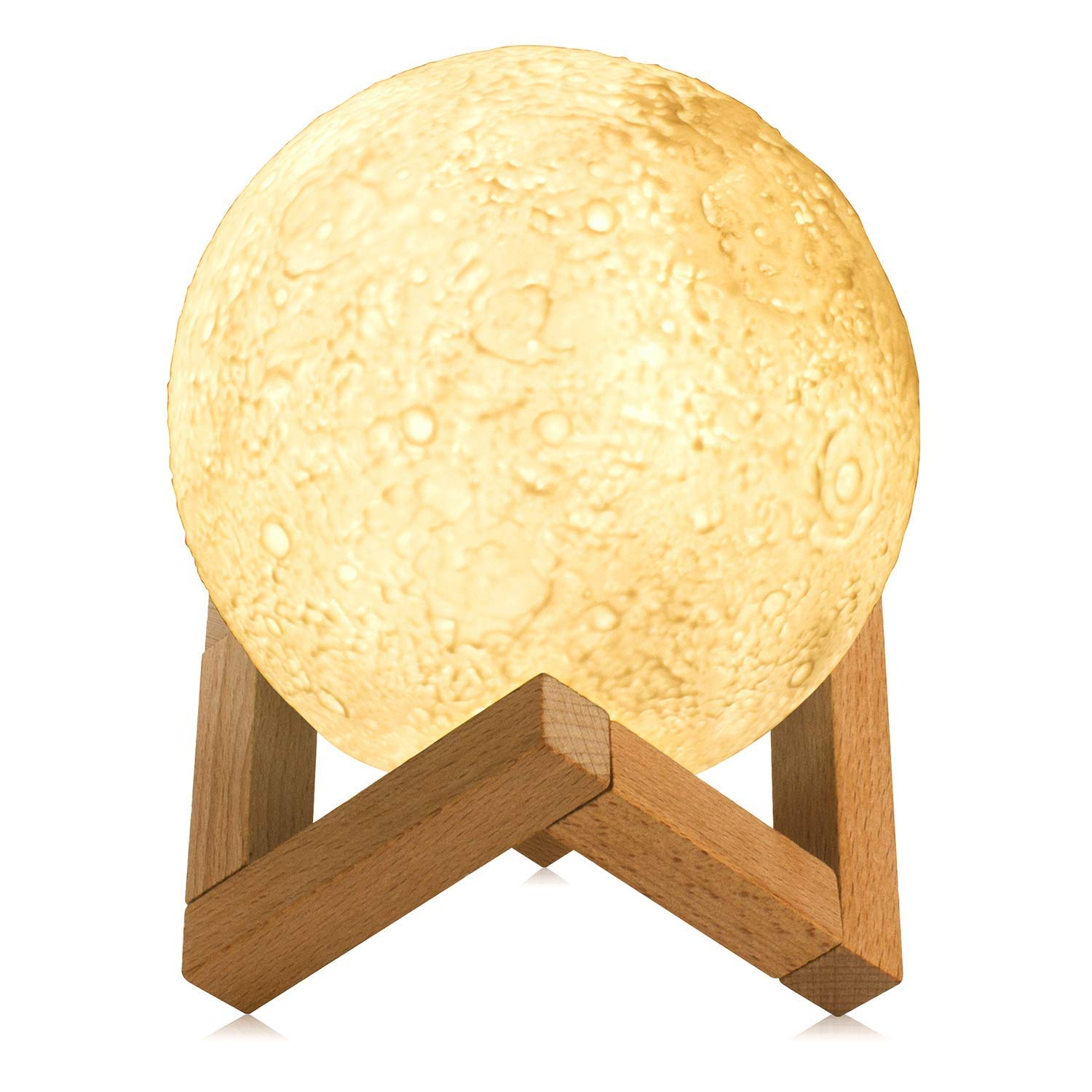 GYYlucky 3D Moon Lamp Light, Mood LED Touch Night Light with Wooden Stand, USB Charging Bedside Table Lamp for Bedroom, Living Room, Home Decoration Gift (13 cm)