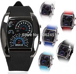 LNTGO New Fashion Led Watch Men Sport Watches Rubber Strap Digital Military Watch Sport Car Meter