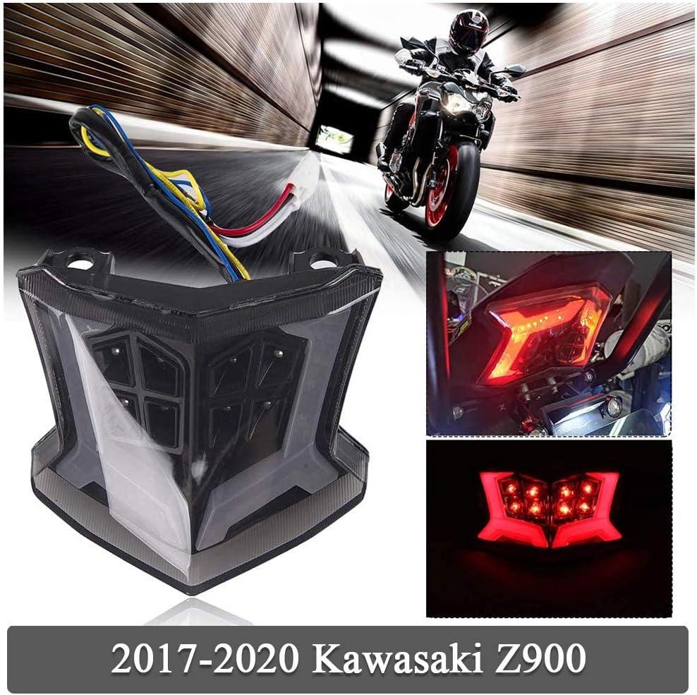 FATExpress Motorcycle Rear Tail Light for 2017 2018 2019 2020 Kawasaki Z900 Z 900 Z650 Ninja 650 Ninja 650 Integrated LED Lamp Brake Stop Taillight Blinker Indicator Turn Signals Accessories