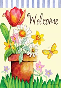 Toland Home Garden Potted Welcome 12.5 x 18 Inch Decorative Spring Flower Butterfly Garden Flag