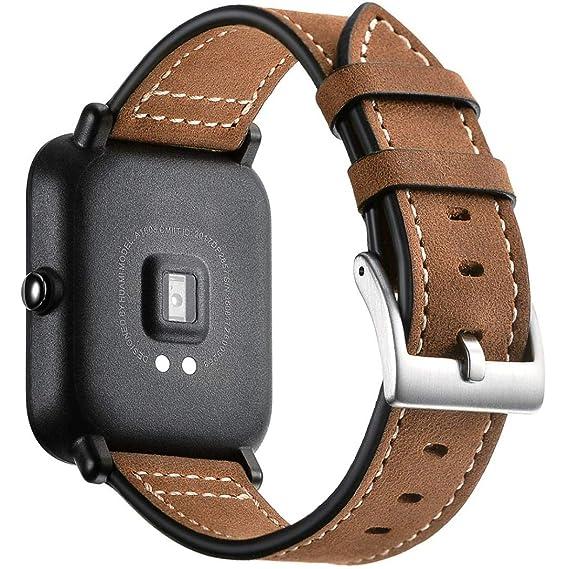MYQyiyi Correa de Cuero de Reloj para Xiaomi Huami Amazfit Bip Youth Watch