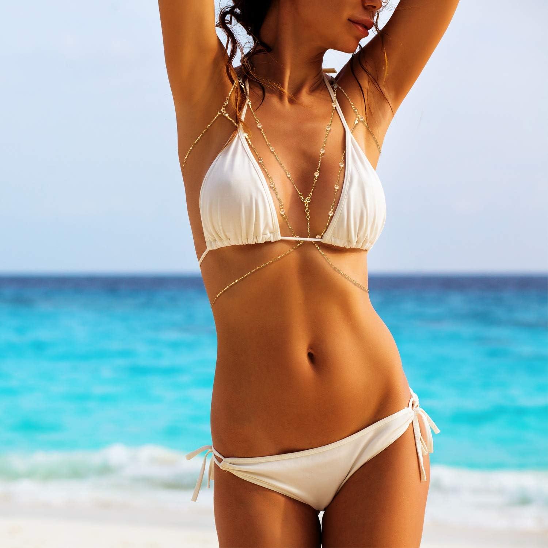 2 Pieces Body Chain Rhinestone Bra Chain Bikini Bralette Chain Body Accessories
