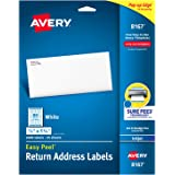 "Avery Address Labels with Sure Feed for Inkjet Printers, 0.5"" x 1.75"", 2,000 Labels, Permanent Adhesive (8167)"