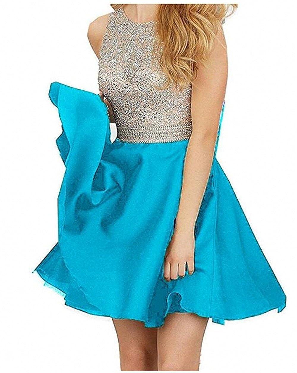 bluee TANGFUTI Homecoming Dresses Short Beading Satin Prom Dresses Open Back 107