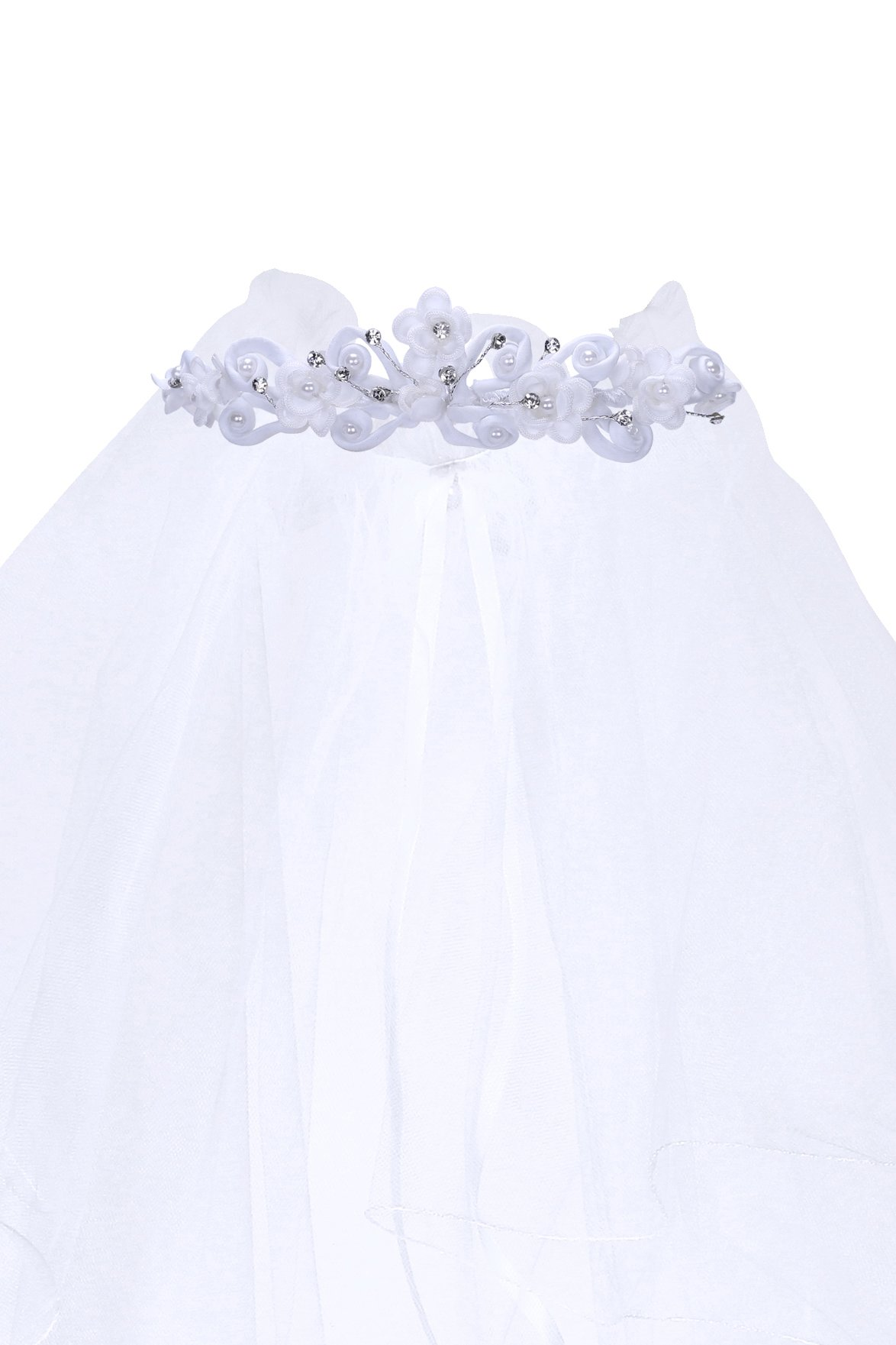Kids Dream Precious First Communion Flower Girl Veil w/Elegant Satin Crown for Girls by Kid's Dream (Image #1)