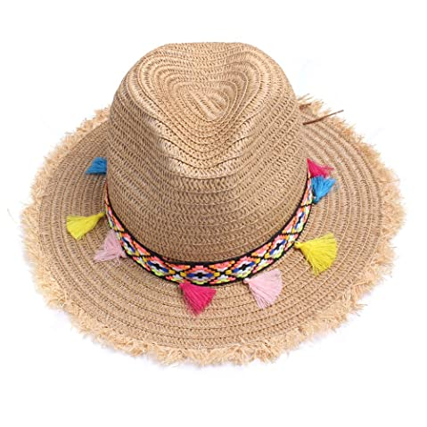 6ed99eb178c Vankerful colorful Tassels Women s Straw Hat Wide Brim Beach Summer Sun Hat