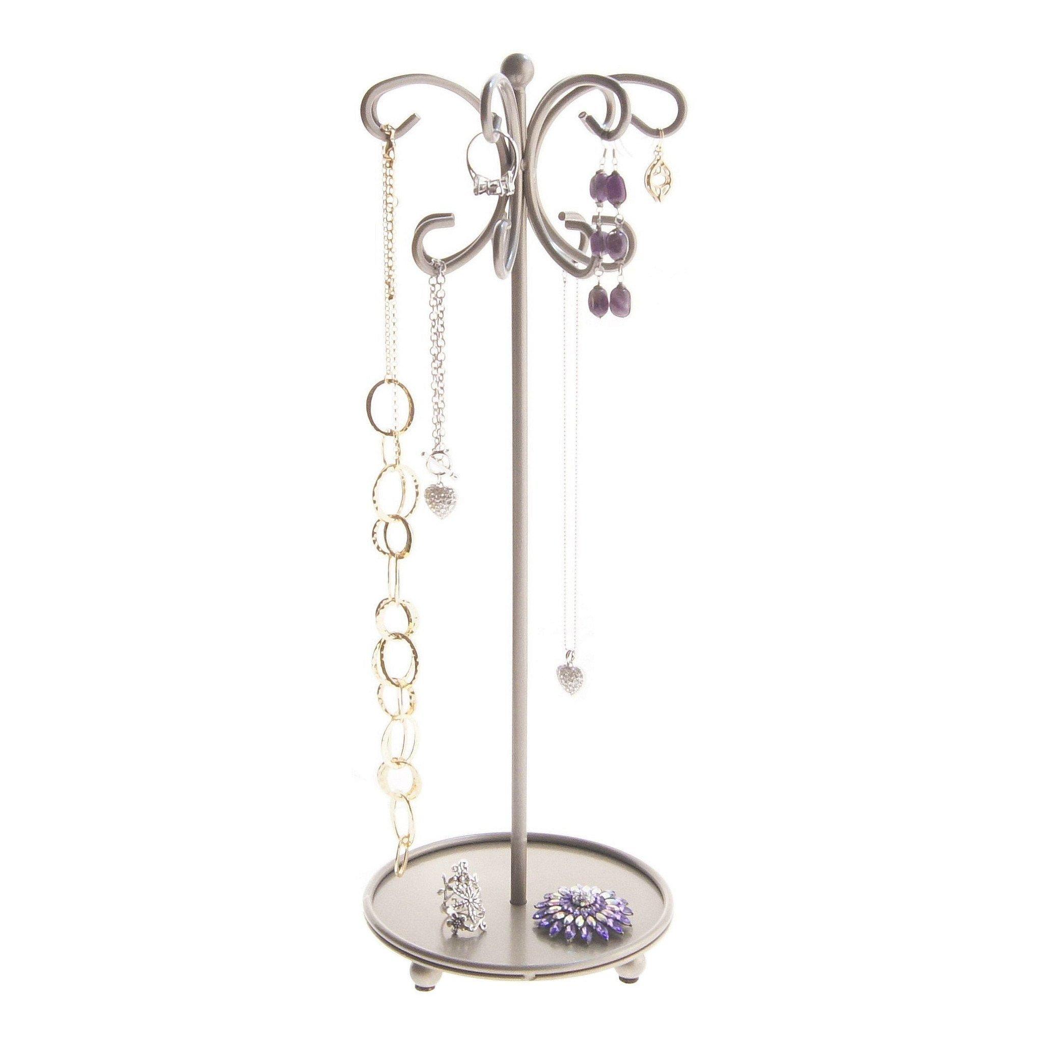 Angelynn's Necklace Holder Organizer Jewelry Tree Stand Storage Rack, Ava Satin Nickel Silver