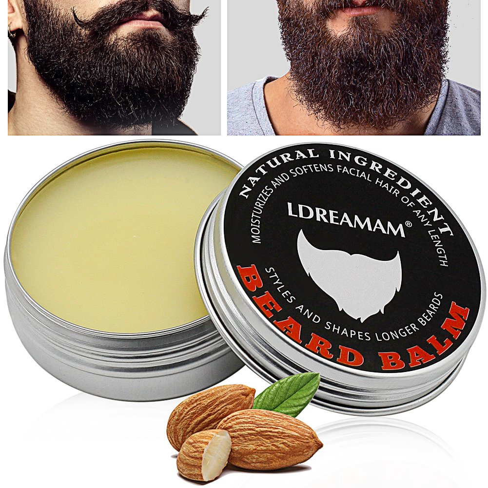 Beard Balm, Mustache Balm, Beard Care, All Natural Nourishes the Skin & Makes Your Beard Soft. The Best Beard Conditioner and Softener for Hair Care and Growth | Shape and Style Your Beard, 60g LDREAMAM