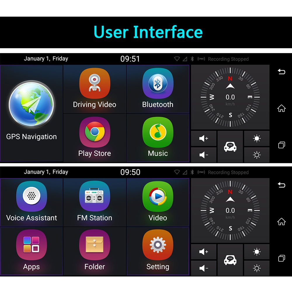 junsun 7 GPS Navigation Mirror Bluetooth Touch Special: Amazon in