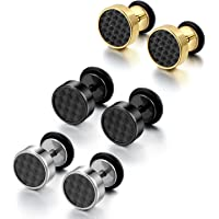 Cupimatch Cool 10mm Mens Stainless Steel Stud Earrings Women Piercing Ear Plug Tunnel Set of 4 Pairs