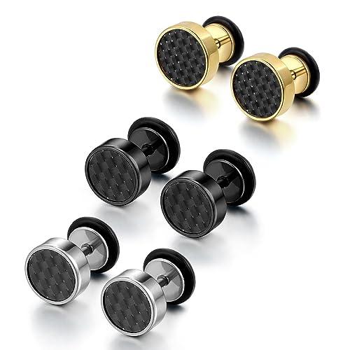 Cupimatch - Juego de 3 pares de pendientes de acero inoxidable de imitación de dilataciones para la oreja para hombre: Amazon.es: Joyería