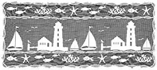 product image for Heritage Lace Harbor Lights 14-Inch by 36-Inch Runner, White
