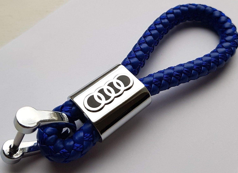 ELPCraft Porte-cl/és en Cuir avec Logo Audi Compatible avec Audi Bleu