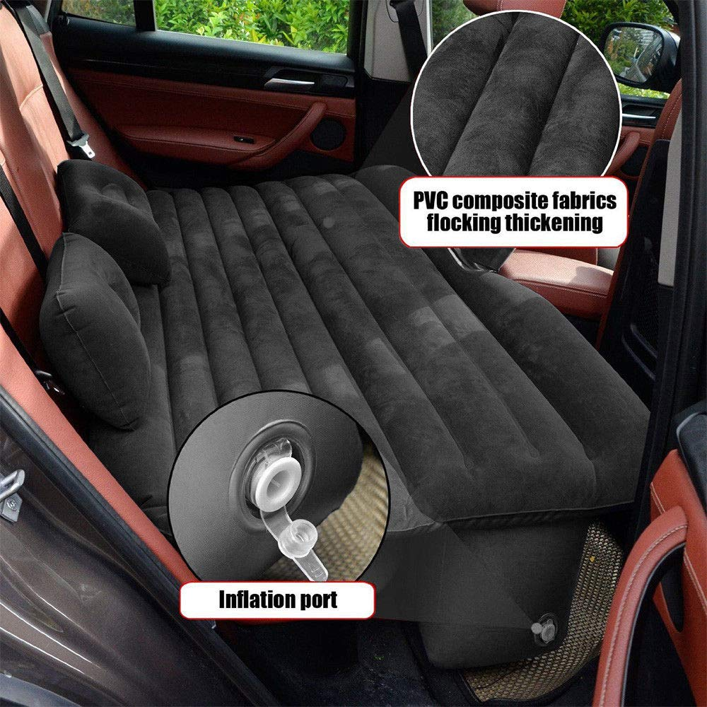 Mami-Team Car Air Mattress Bed Inflatable Travel Back Seat Sleep Rest Mat Pillow Pump Lightweight Folded Cushion SUV Weight: 2.6 kg/5.7lbs Inflated Size 53.54 x 33.07 x 17.32 Inches (Black) by Mami-Team (Image #6)