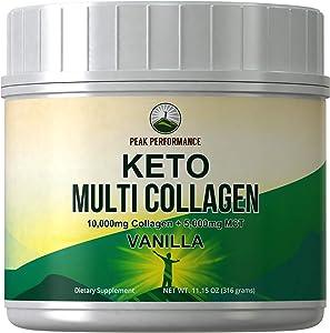 Keto Multi Collagen Vanilla Protein Powder + MCT Oil Powder. Perfect 2:1 Ratio Zero Carb 10,000mg Grassfed Collagen Peptides + 5000mg MCT Oil Powders. Keto Meal Replacement Shake for Ketogenic Diet