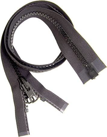Marine Grade Heavy Duty Black #10 YKK Brand Separates at the Bottom Zipper