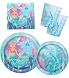 Mermaid Birthday Party Supplies Pack - Serves 16 - Plates, Napkins and Cups