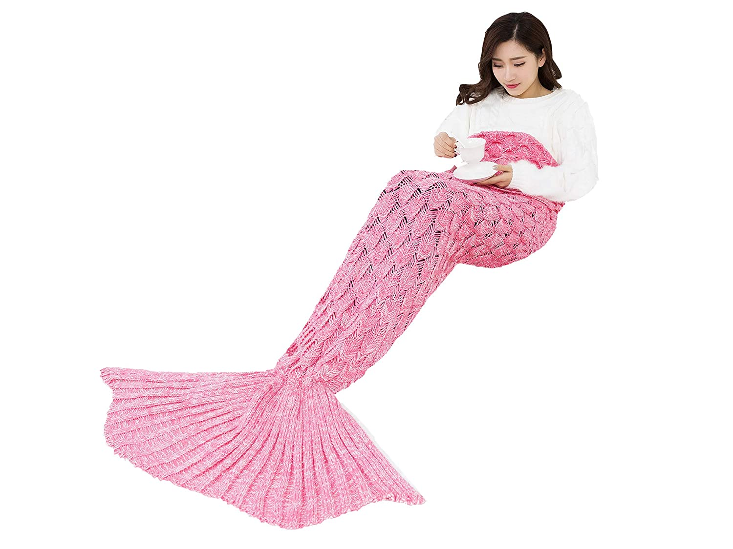 Casirena Mermaid Tail Blanket, Hand Crochet Snuggle Mermaid,Soft All Seasons Sleeping Blankets for Kids,Teenage,Adult Mermaid Tails(71