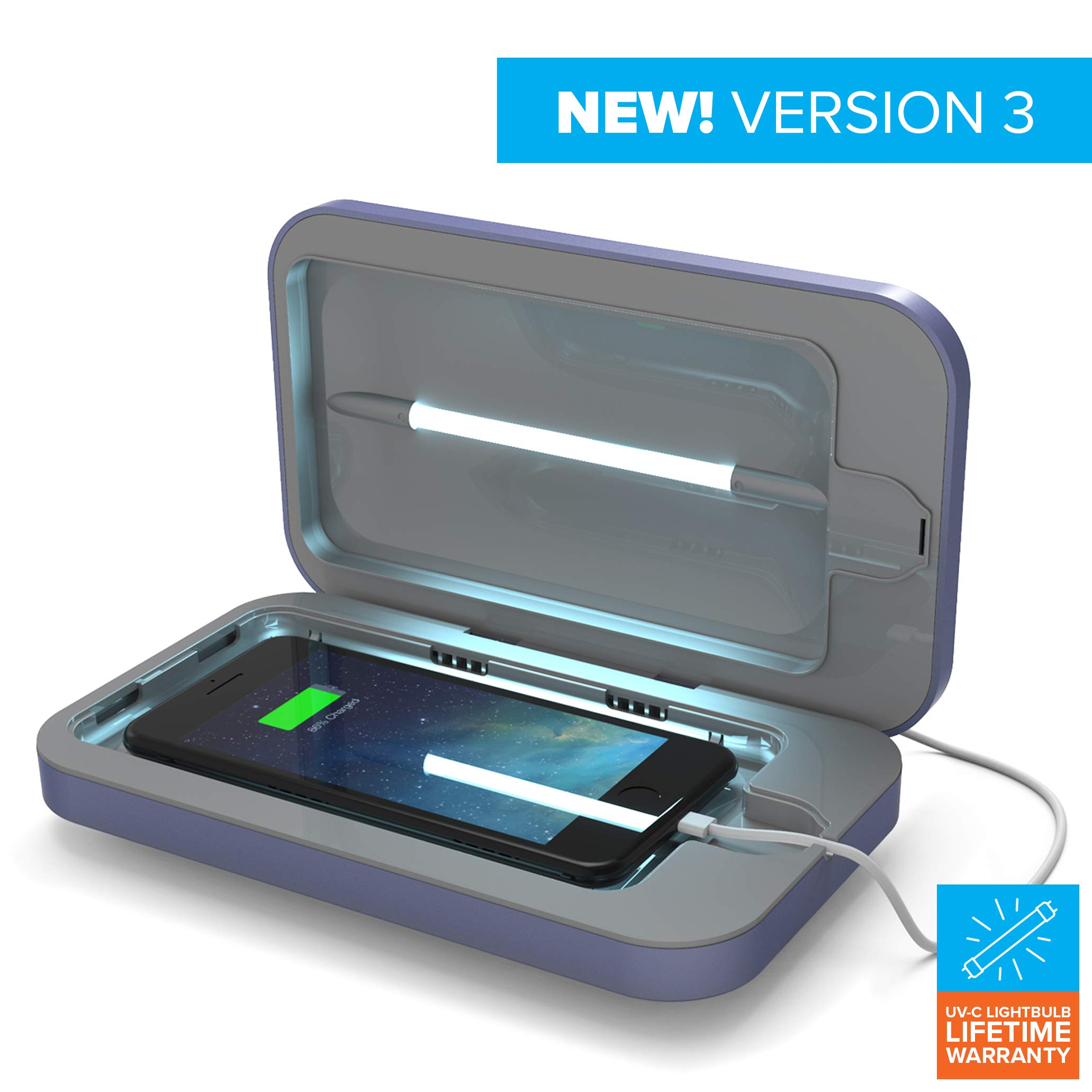PhoneSoap 3.0 UV Sanitizer and Universal Phone Charger (Periwinkle 3.0, Single)