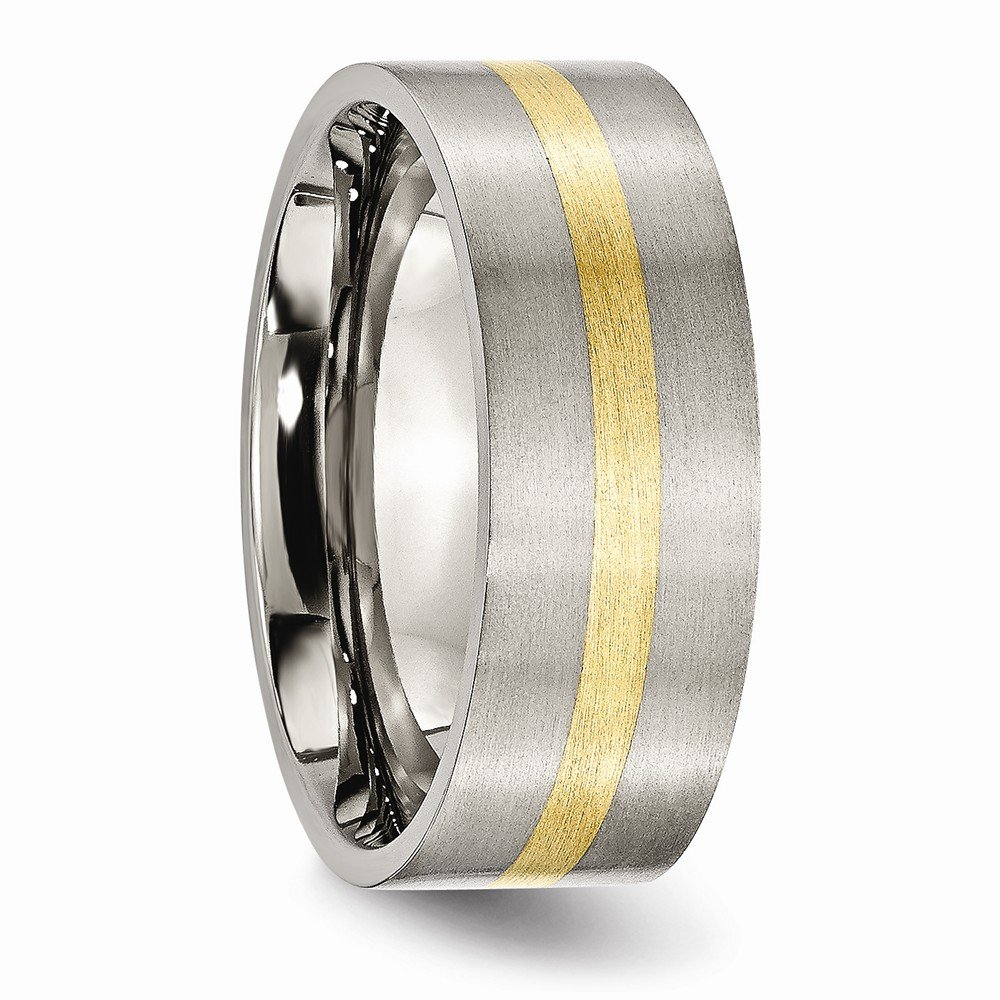 Titanium and 14k Yellow Inlay 8mm Brushed Wedding Band Fine Jewelry Ideal Gifts For Women
