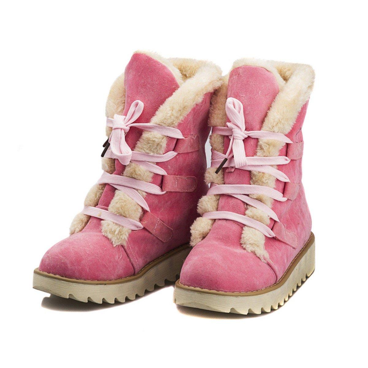 Homiki Damenstiefel Round Toe Flach HalbschaftStiefeletten Schlupfstiefel Plateauschuhe Wolle Schnürsenkel Pink 39 91b74P