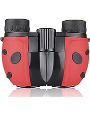 Kids Binoculars Compact Mini Binoculars for Children, Rubber 8x22 Adjustable Lightweight Binoculars Telescope Toy, Children Educational Toys for Bird Watching, Outdoors, Climbing, ManKn Boshile Series (Red)