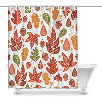 Amazon INTERESTPRINT Autumn Leaves Bathroom Accessories Shower