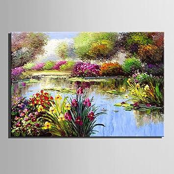 LDONGPENG LDu0026P 100% Hand Kunst Ölgemälde Teich Garten Szene Muster Gemälde  Auf Leinwand Wand