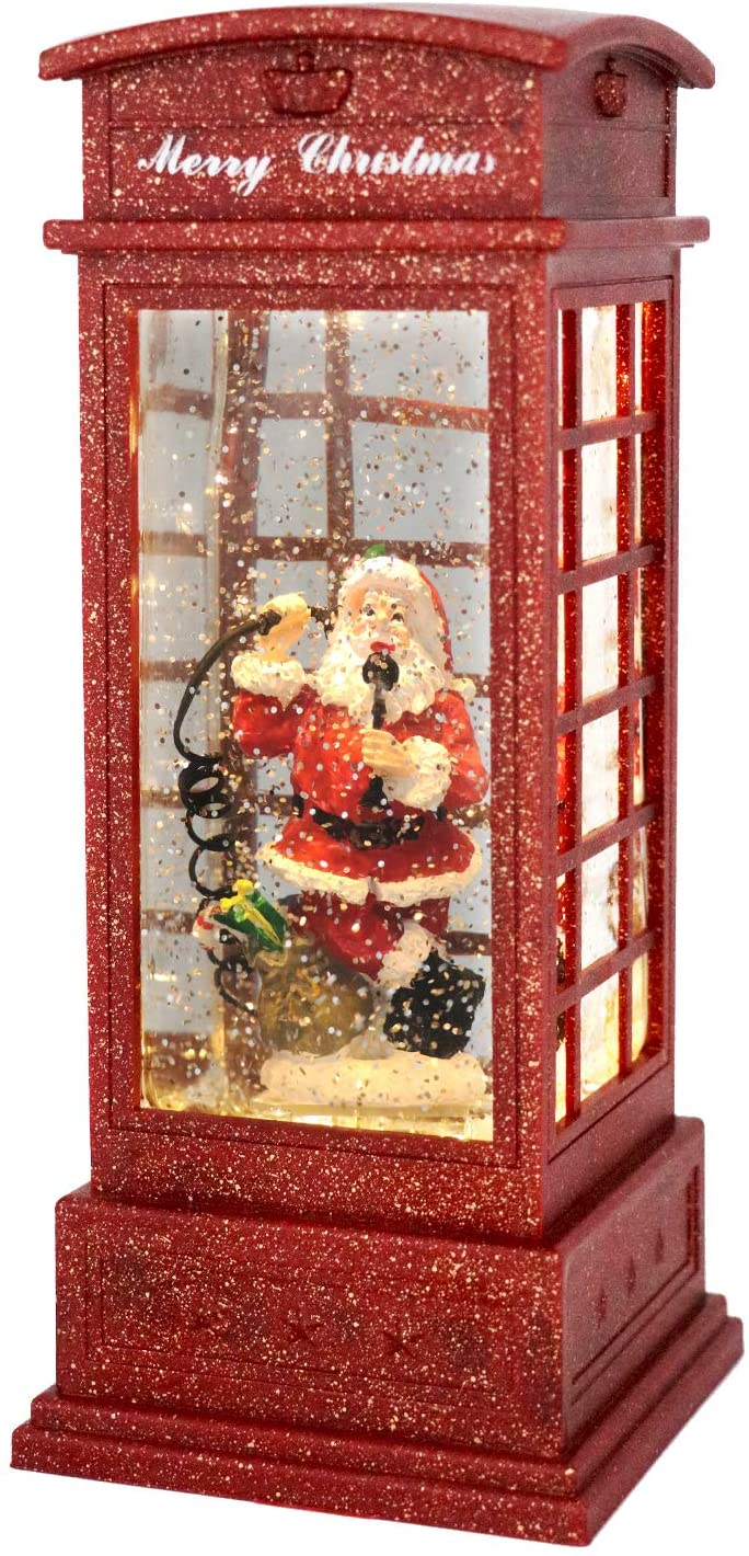 GenSwin Christmas Snow Globe Lantern Phone Booth Battery Operated Musical Lighted Water Snowing Glittering Snow Globe Lantern with Timer, Christmas Home Decoration and Gift(Phone Booth)