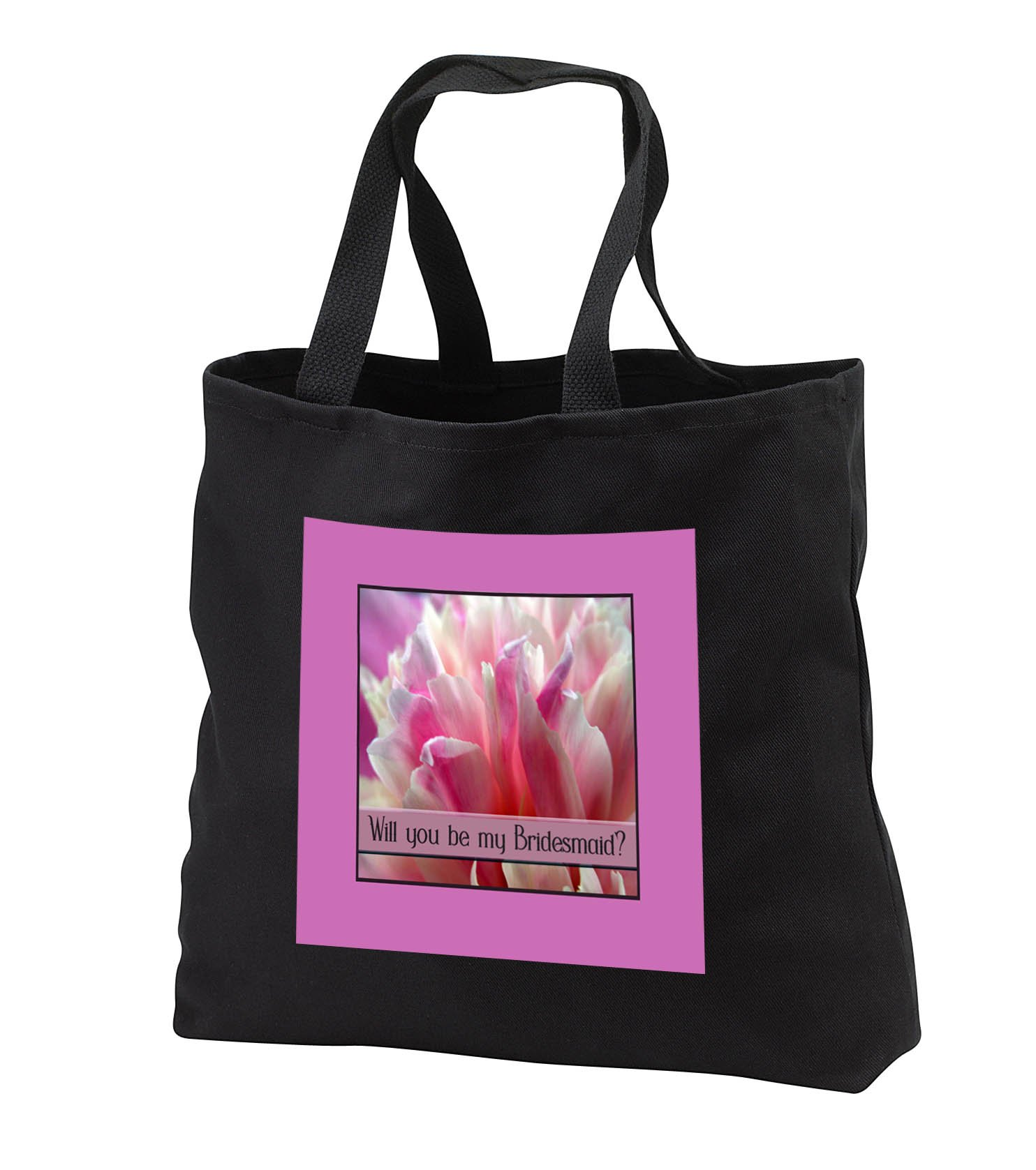 Beverly Turner Wedding Bridal Party Design - Will you be my Bridesmaid, Pink Peony Flower - Tote Bags - Black Tote Bag 14w x 14h x 3d (tb_282205_1)