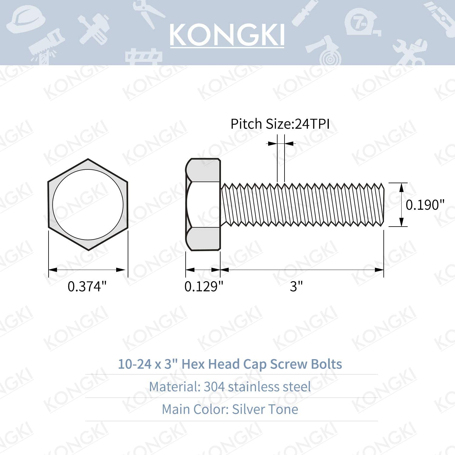 Bright Finish #10-24 x 1-1//2 Stainless Steel Hex Head Screws Bolts 20 Sets Flat /& Lock Washers Kits Fully Machine Thread Nuts 304 Stainless Steel 18-8