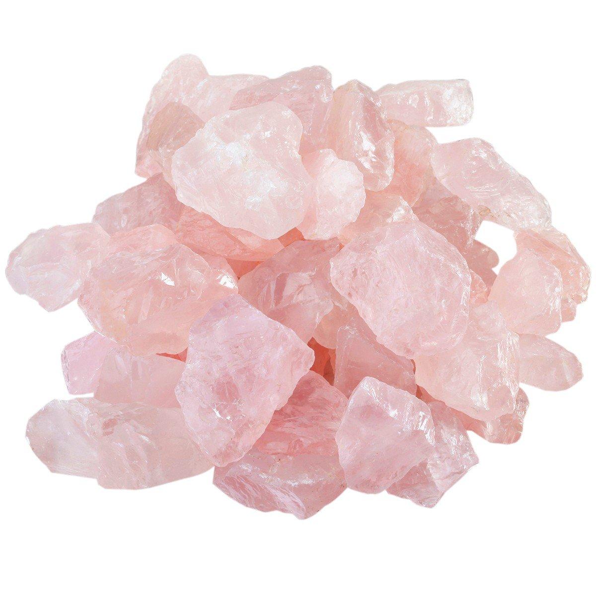 rockcloud 1 lb Natural Crystals Raw Rough Stones for Cabbing,Tumbling,Cutting,Lapidary,Polishing,Reiki Crytsal Healing,Rose Quartz
