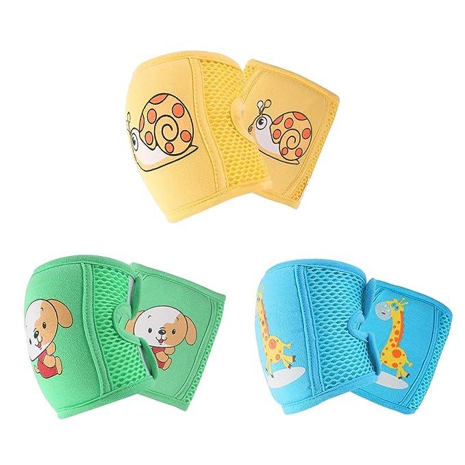 KAIMENG Almohadillas para rodillas para bebés Cintas de velcro ajustables y malla 3D transpirable para gatear