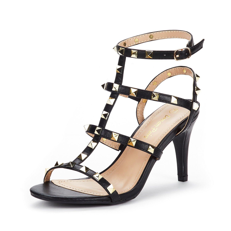 DREAM PAIRS Women's HEROINEE Black Fashion Stilettos Open Toe Pump Heeled Sandals Size 8 B(M) US
