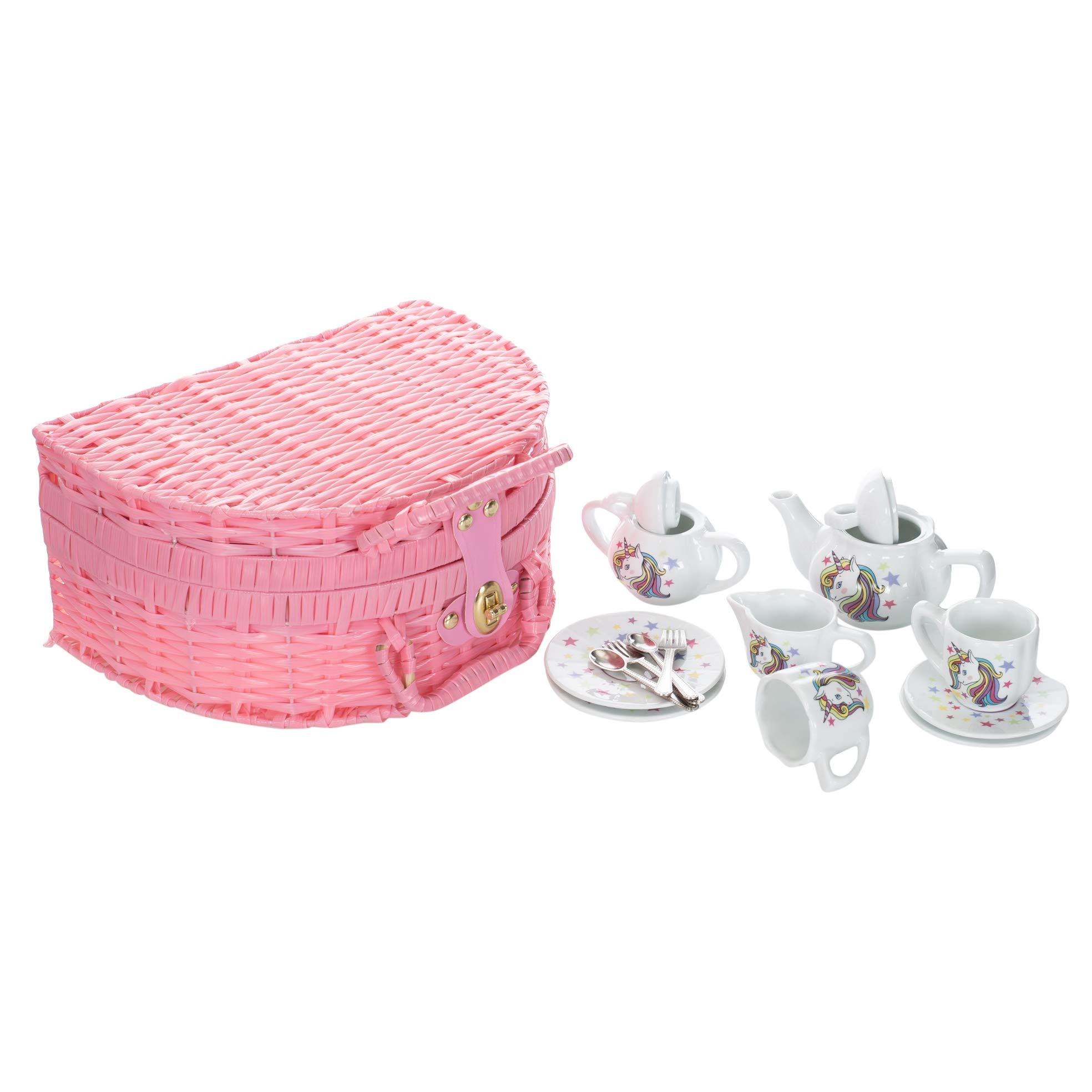 Delton Porcelain Unicorn Tea Set in Basket