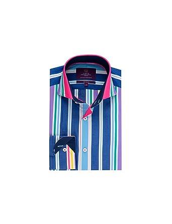 8ac3ccef2e HAWES & CURTIS Mens Curtis Blue & Pink Multi Stripe Slim Fit High Collar  Single Cuff