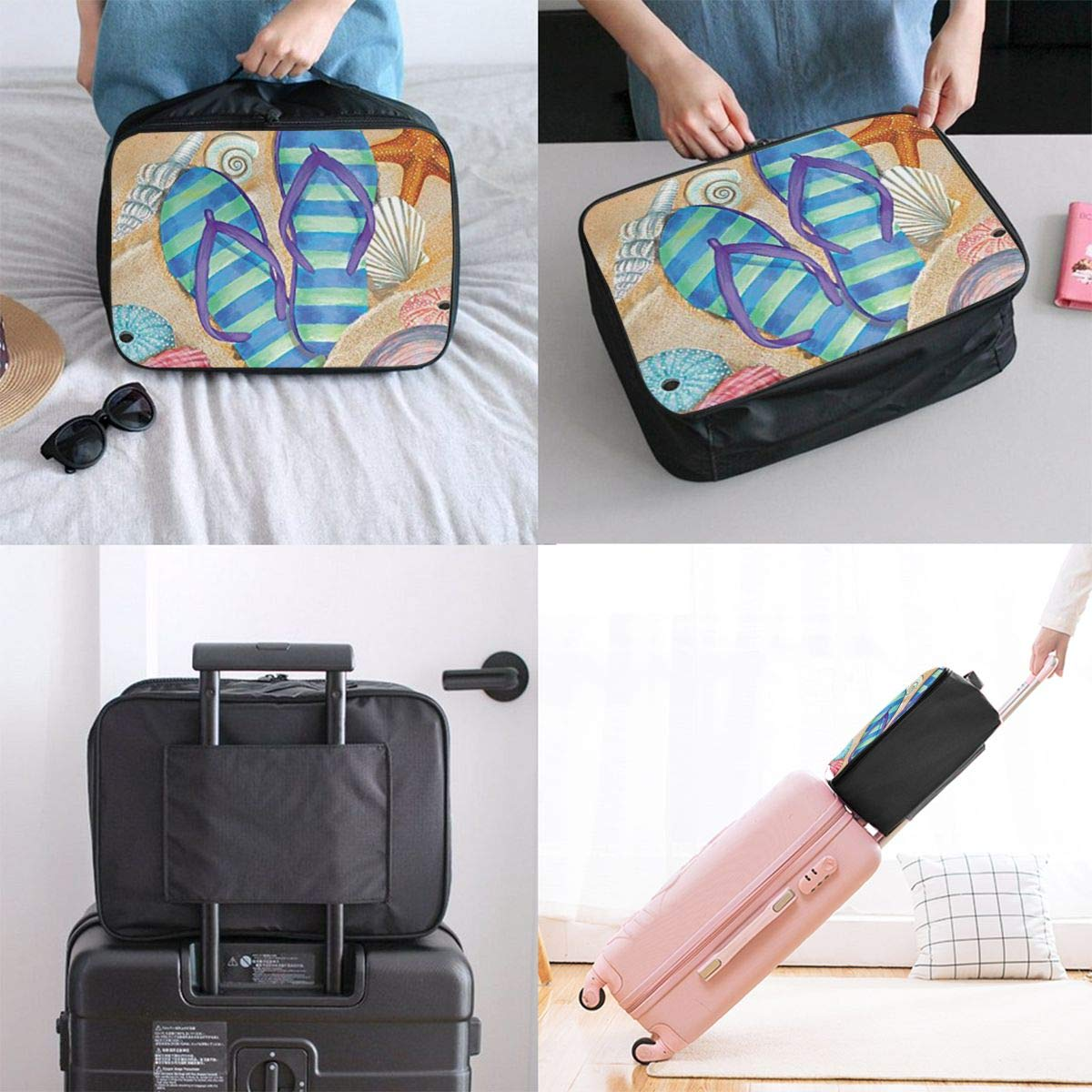 ADGAI Summer Flip-Flops Canvas Travel Weekender Bag,Fashion Custom Lightweight Large Capacity Portable Luggage Bag,Suitcase Trolley Bag