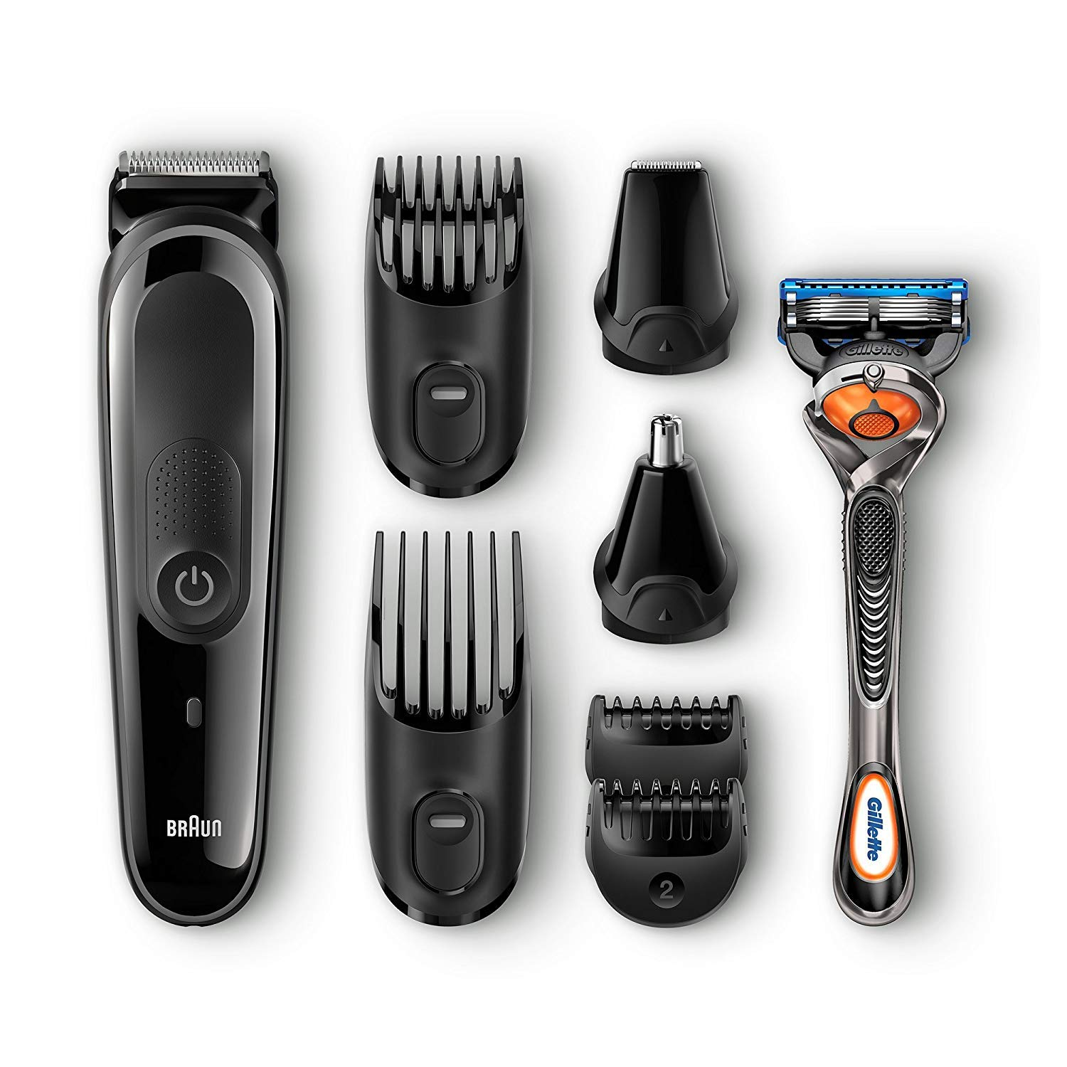 Braun All-in-One Corded/Cordless Universal Voltage Multi-groom Turbo-Powered Beard Hair & Ear & Nose Trimmer Grooming Kit Plus Cube Travel Hard Protective Carrying Case Pouch