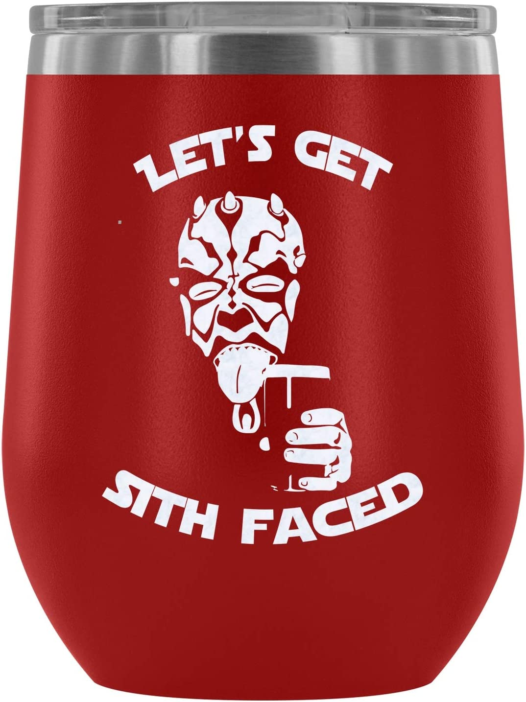 Steel Stemless Wine Glass Tumbler, Let's Get Sith Faced Vacuum Insulated Wine Tumbler, Darth Vader Star Wars Wine Tumbler (Wine Tumbler 12Oz - Red)