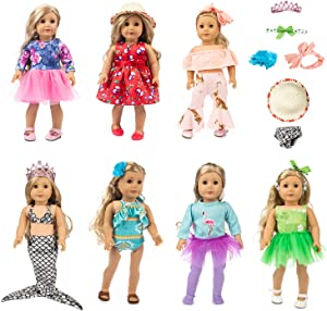 HOAYO 17 Pcs Girl Doll Outfits and Accessories for American Standard 18 Inch Dolls, 7 Sets Girl Doll Clothing with Headbands, Hair Clip, Crown, Hat