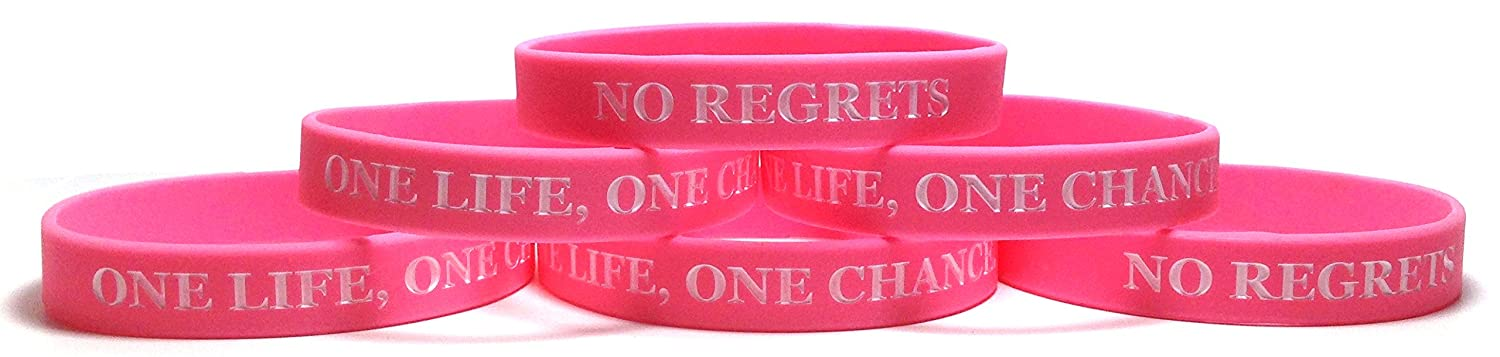 """6 Pack """" One Life、One Chance。No Regrets """" Inspirationalシリコンリストバンドラバーブレスレット B01M3X6F99 ピンク X-Large (8.5"""" 216mm) X-Large (8.5"""" 216mm) ピンク"""