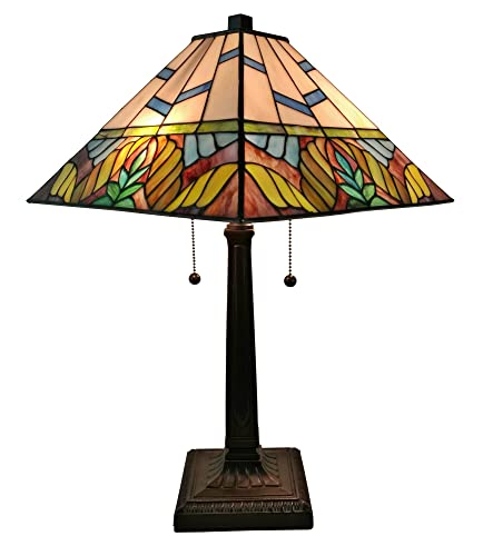 Tiffany Style Table Lamp Banker Mission 22 Tall Stained Glass Tan Blue Brown Yellow Green Floral Flower Vintage Antique Light D cor Living Bedroom Handmade Gift AM304TL14 Amora Lighting